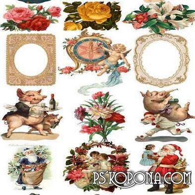 Scrap Victorian 150 JPEG frames, flower, elements for design