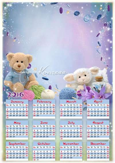 Children's PSD calendar-frame for 2016 for girls with soft toys and purple flowers