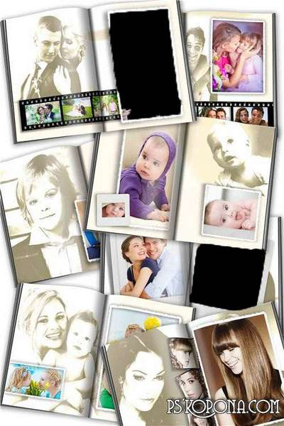 Sepia - photobook template psd for photos