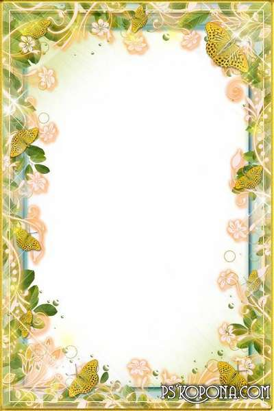 Beautiful frames with yellow tulips