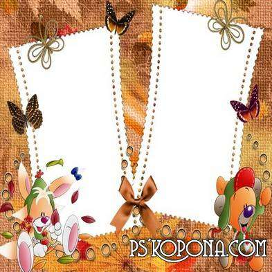 A set of children's frame the autumn theme