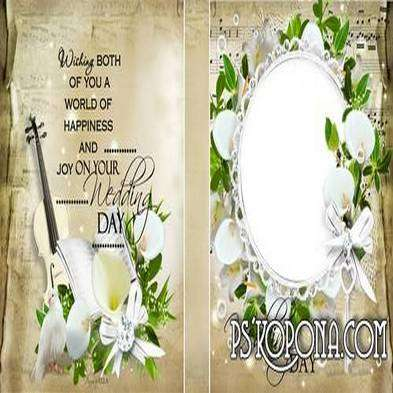 Template wedding photo book template psd - White calla