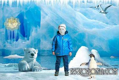Free Children's psd template for photoshop - At the north pole