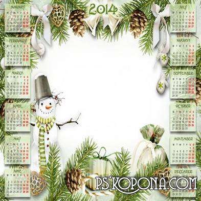 Children winter calendar-frame for 2014 - Funny Snowman