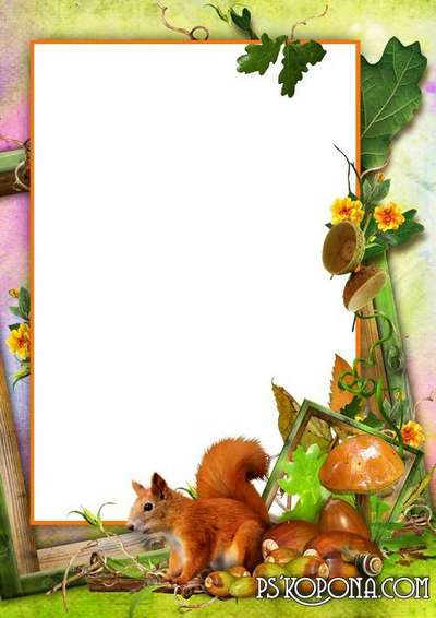 Free Kids frame with forest flowers and animals - PSD, 3 PNG