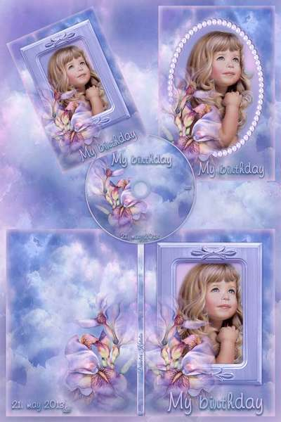 Free DVD cover template – My birthday - Purple Photo Frame, DVD cover template and Blowing on the disc