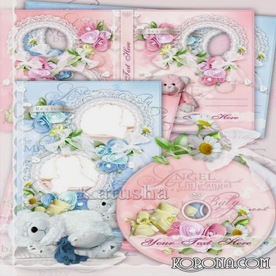 Free Charming Baby kit - My Little Angel. Photo frame PSD, DVD cover template and blowing on the disc in two versions - a boy and a girl.