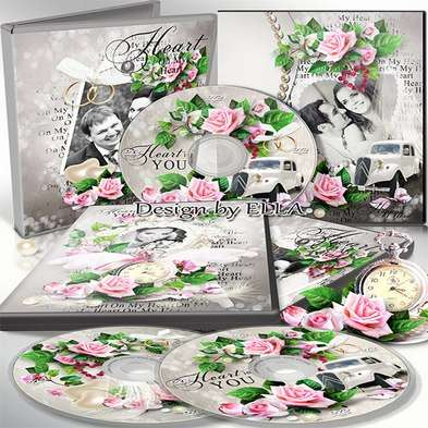Free Two wedding set dvd cover templates psd with pink roses - The most important day