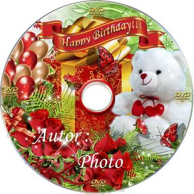 Complimentary dial - photo frame,  DVD cover template and blowing to disk - happy Birthday