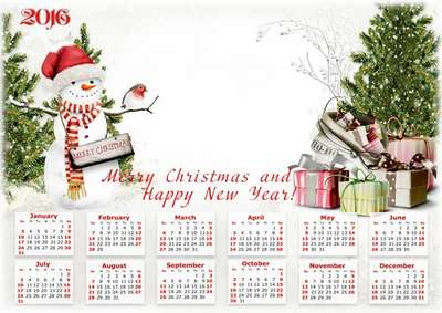 Free Calendar-frame PNG - Merry Christmas and Happy New Year for 2016 ...