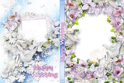 Delicate wedding set with purple flowers - blowing and DVD cover template - Love opens the heart