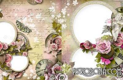 Universal photo book template psd with flower design-My Angel