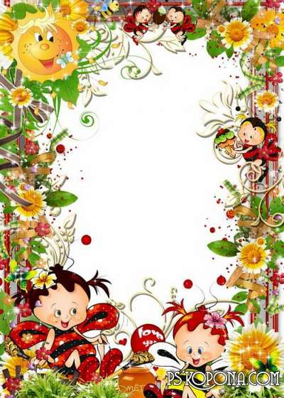 Bright children's frame - Bees of a truzhenitsa we, a food brought...