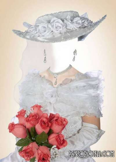Photoshop template for girls - in a white dress and hat