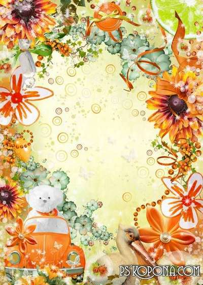 Bright children's frame with flowers - Mood at me today, Orange ...