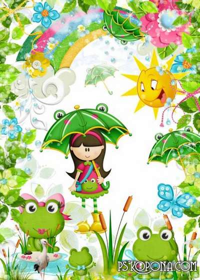 Children's frame - We a family of young frogs, mother, the father, I and the brother ...