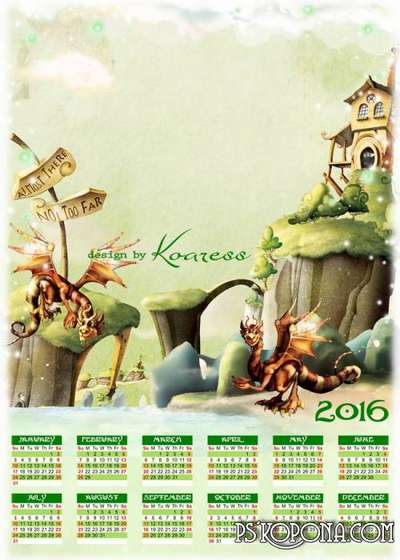 PSD Calendar with photo frame for 2016 (English, Spanish, Russian) - Magnificent Dragons