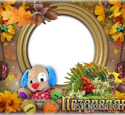 Free Children psd frame for greetings with Teddy bear, decorated in autumn style
