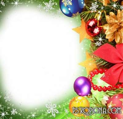 Christmas frame for photoshop - Spinning, laughing Blizzard for the New year