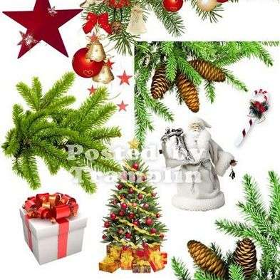 Free Christmas clipart png for photo design - gifts, Santa Claus, pine branches, christmas trees and christmas decorations.