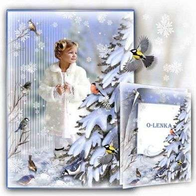 Free collage photo frame for photoshop - winter birds on the nature near the tree