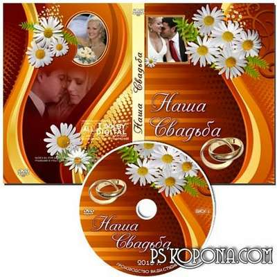 Free Cover for DVD - Our Wedding - Includes dvd cover, the knurling on disk, fonts.