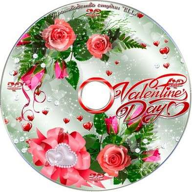 Set on the day of St. Valentine - Blowing on the disc and DVD cover template -Happy Valentine's Day