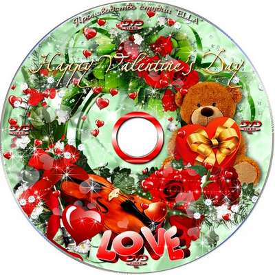 Romantic collection - blowing and DVD cover template - Valentine's Day