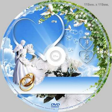 Wedding set - a Frame for photo, covering DVD, disk VDV - a Country love and happiness