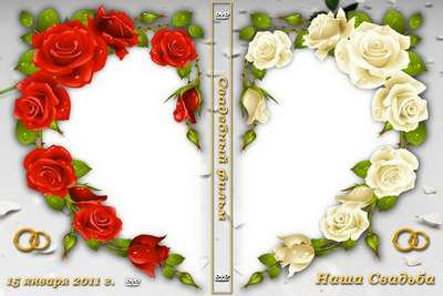 Wedding  DVD cover template - Roses