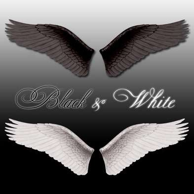 Angel Wings PSD Black and White