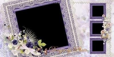Photo book template psd honeymoon - Purple wedding