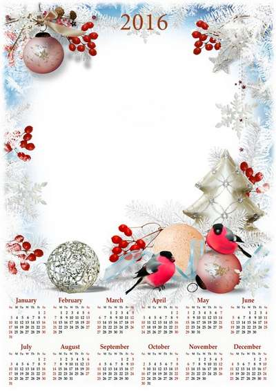 2016 Сalendar template png with frame for photo Merry Cristmas!
