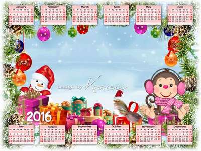 Free 2016 calendar template kids with ability to insert photos - Christmas gift