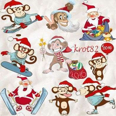 Selection of a Cristmas clipart PNG - Funny monkeys and cheerful Monkeys and Santa Claus