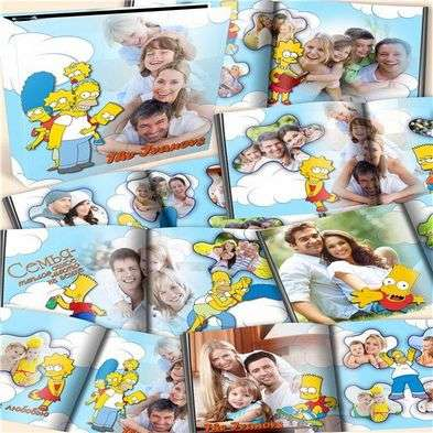 Family photo book template psd for photoshop - simpsons