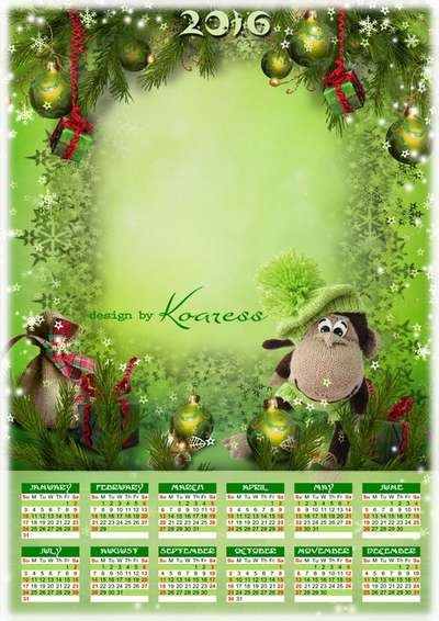 Free 2016 calendar psd template Cristmas funny monkey - English, Spanish
