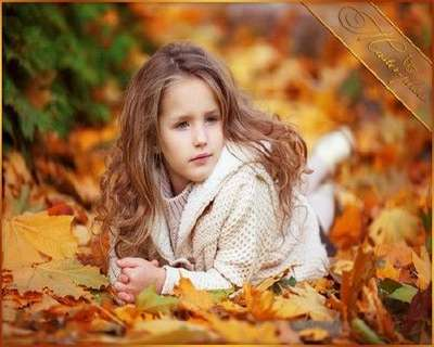 Kids Autumn PSD template for Photoshop - Little ringlet