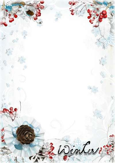 Frame psd template with snowflakes and berries