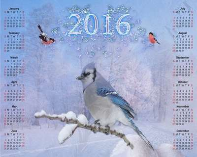 Free 2016 Winter calendar template psd - Winter landscape