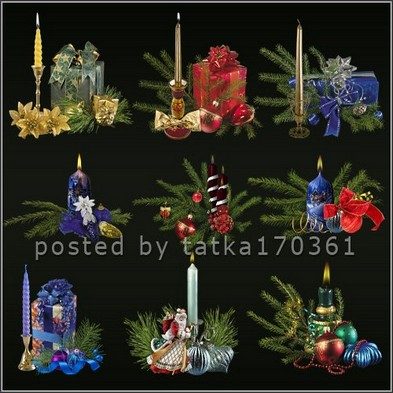 Cristmas graphics png for Photoshop - Christmas decorative candles