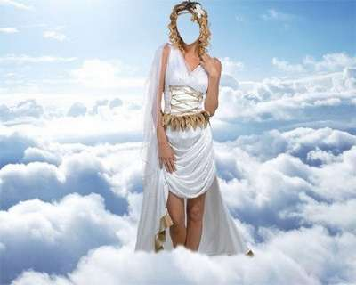 Free psd girl photo template - the Goddess among the clouds