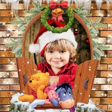 Free psd template winter childrens frame psd with cartoon characters - Free download