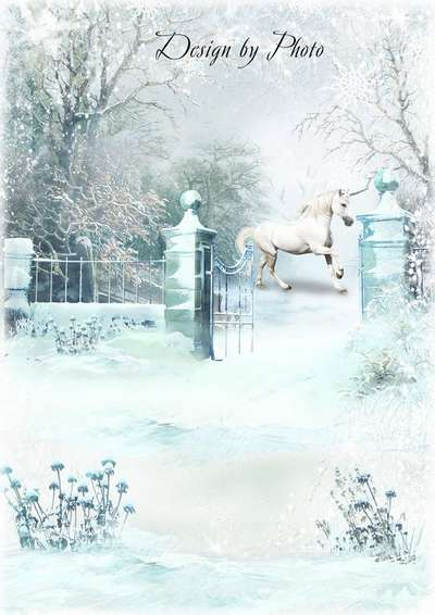 Free winter childrens frame psd  for photo design Snow queen - Free download