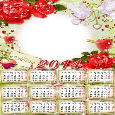 Festive Calendar-frame template psd + png for 2014 - Happy Valentine's Day