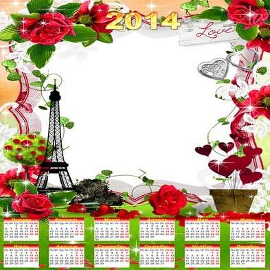 Romantic calendar frame template psd 2014 - Love