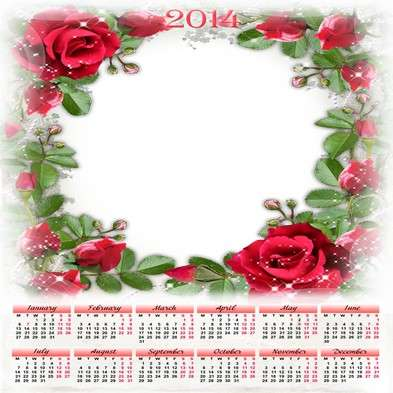 Romantic calendar-photoframe template psd + png - Red roses