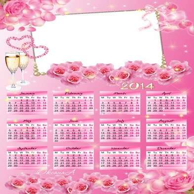 Wedding Calendar template psd for 2014 - Magic Rose love