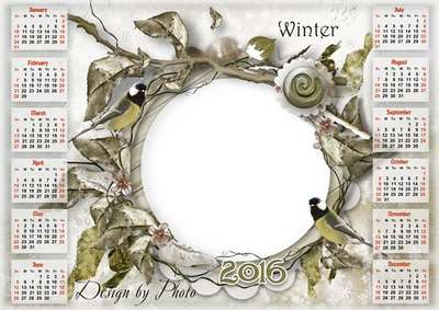 Free 2016 calendar template psd with photo frame winter birds - Free download