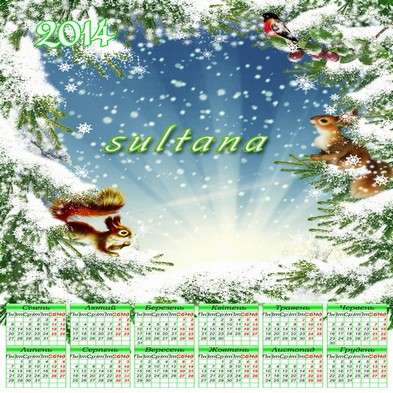 Calendar template psd for 2014 - In the winter woods with squirrels